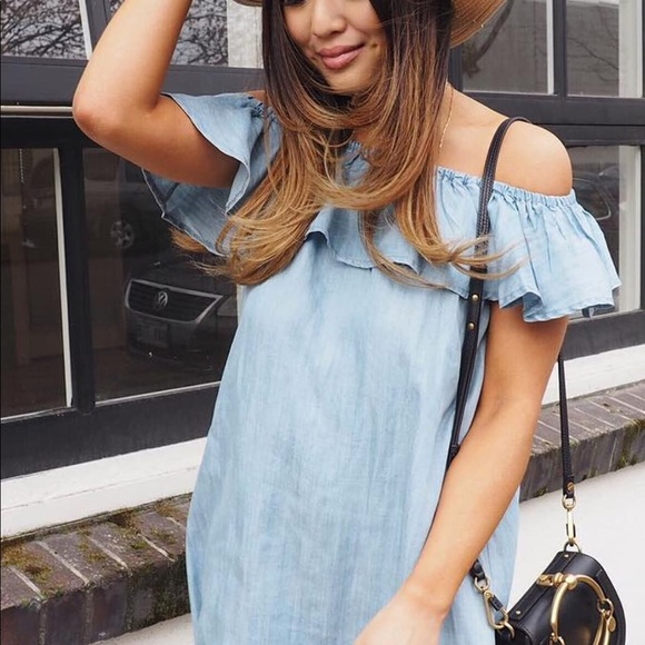 43b2106b903d LULUS Chambray off the shoulder